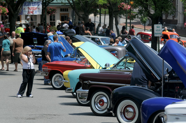 JIM VAIKNORAS/Staff photo Classic cars fill Market Square in Amesbury for the annual Ring Reckers Classic Car show.