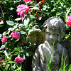 JIM VAIKNORAS/Staff photo  A cherub statue surrounded by roses in the garden of Mickey and John Rizza at 418 Main Street in Amesbury.