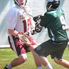 JIM VAIKNORAS/Staff photo Newburyport's Dillon Guthro stops a shot  by Austin Prep's Brett Mazza during their game at War Memorial Stadium in Newburyport Saturday.