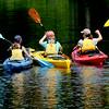 JIM VAIKNORAS/Staff photo Three kayakers head out during Amesbury Days Lake Gardner Weekend Saturday.