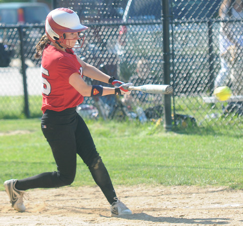 JIM VAIKNORAS/Staff photo Amesbury's Lauren Fedorchak with a hit against Notre Dame during their game at Amesbury Middle School Tuesday.