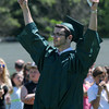 JIM VAIKNORAS/staff photo Graduate Mark Schmidt celebrates  after getting his diploma at Pentucket's Commencement Saturday at the high school in West Newbury.