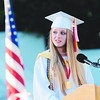 JIM VAIKNORAS/Staff photo Amesbury class Valedictorian Alexandria Debasitis speaks during graduation at Landry Stadium.