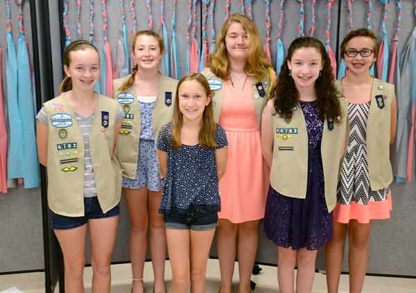 JIM VAIKNORAS/Staff photo <br /> Girls scout in Merrimac Troop 6783 who recieved Silver Award from left: Molly Dezeil, Grace Tierney, Megan Burak, Alexandria Janelli, Jenna Miller, and Jillian Marden.