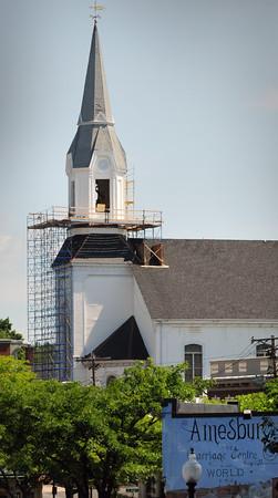BRYAN EATON/Staff Photo. The Market Street Baptist Church is a familiar landmark in downtown Amesbury.