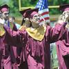 JIM VAIKNORAS/Staff photo  David Junkins celebrates at Newburyport's graduation at World War Memorial Stadium  Sunday.