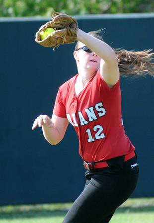 BRYAN EATON/Staff Photo. Amesbury leftfielder Megan Reid easily makes the catch of a Winthrop fly ball.