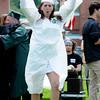 JIM VAIKNORAS/Staff photo Jennifer Marra celebrates after getting her diploma at Pentucket graduation Saturday.