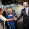 BRYAN EATON/Staff Photo. Massachusetts Governor Charlie Baker greets former Greater Newburyport Chamber of Commerce president Esther Sayer and present executive director Ann Ormond at the Blue Ocean Event Center. Governor Baker was the keynote speaker of the Chamber's 50th Anniversary Dinner last night.