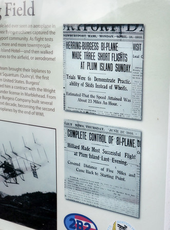 BRYAN EATON/Staff Photo. Newburyport Daily News clippings of flights made at Plum Island Airfield in 1910.