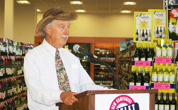 ANGELJEAN CHIARAMIDA/Staff Photo. Peter Oldak, owner of Jewell Towne Vineyard in South Hampton on the Amesbury town line speaks at the grand opening of the New Hampshire State Liquor Commission's new store at South Gate in Seabrook. One of the NHSLC's strengths, according to Oldak,  is its loyalty to New Hampshire's spirit and wine manufacturers.