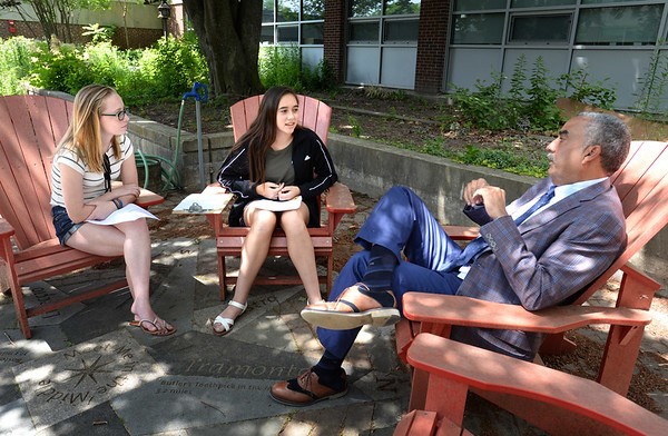 BRYAN EATON/Staff Photo. Nock Middle School students Lauren Portalla, left, and Julia Heartquist interview Essex County Sheriff Frank Cousins. The two were doing a research paper on their Life Skills class on the abuse of prescription drugs and the opiod epidemic.