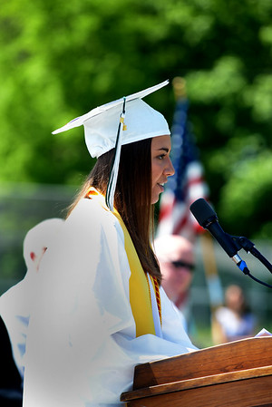 JIM VAIKNORAS/Staff photo Victoria Soucy gives the Valedictorian  Address  at  Pentucket high graduation Saturday.