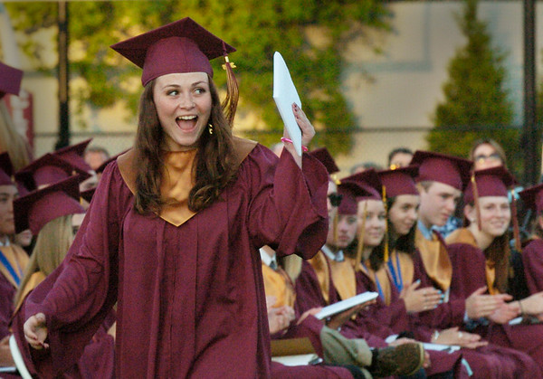 BRYAN EATON/Staff Photo. Tayla Osborn shows how she feels about receiving her diploma at Newburyport High School's class of 2016 graduation Monday night.