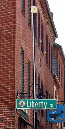 BRYAN EATON/Staff Photo. One of several mysterious cameras at intersections in downtown Newburyport.