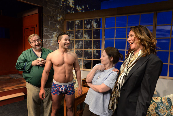 "BRYAN EATON/Staff Photo. Jim Manclark as ""Vanya,"" Marc Pelletier as ""Spike,"" Anne Damon as ""Sonia"" and Kimberly Holliday as ""Masha."""