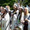 "JIM VAIKNORAS/Staff photoThe chorus performs ""Time of My Life"" at  Pentucket high graduation Saturday."