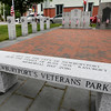 BRYAN EATON/Staff Photo. A new bench has been installed at Newburyport Veteran's Park at Brown Square.