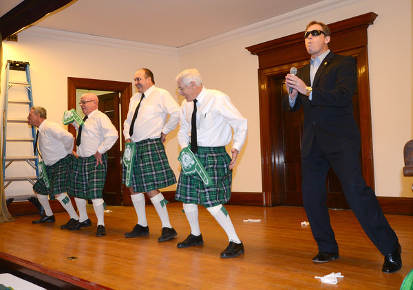 """Newburyport: The """"Costello Family Dancers"""" Gary Calderwood, Zach Longley, Mark Wright, Charlie Cullen , and Chuck Wither, perform a history of dance at the 12th annual Link house St Patrick's Day luncheon at the Mason's in Newburyport. Jim Vaiknoras/staff photo"""