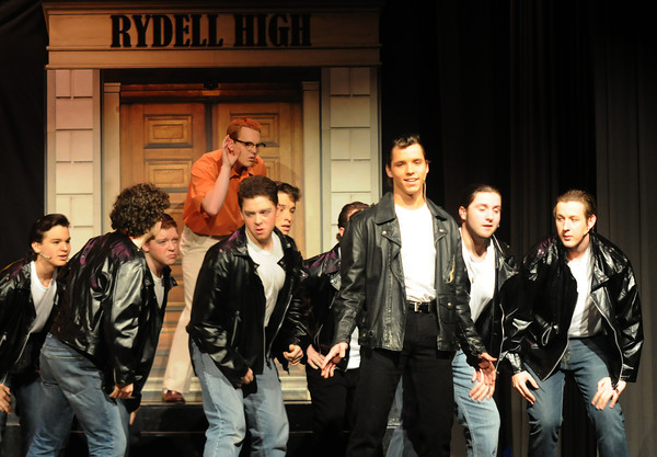 """west Newbury: Josef Allen as Danny sings 'Summer Lovin"""" during a rehersal for the Pentucket high school production of Grease. Jim Vaiknoras/staff photo"""