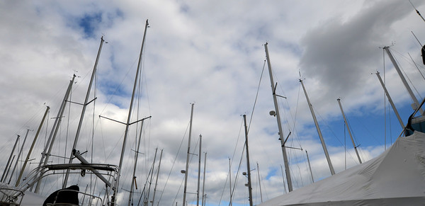 Newburyport: Sailboats mast at the Windward Yacht Yard won't have much longer to wait to get out on the water. Jim Vaiknoras/staff photo