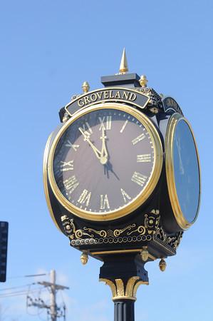 groveland: Clock in Groveland Square. Jim Vaiknoras/staff photo