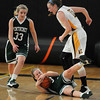 Woburn: Pentucket's Colleen Jameson hits the floor after making a steal against  Arlington Catholic during the Sachem's 59-35 defeat at Woburn high Saturday. Jim Vaiknoras/staff photo
