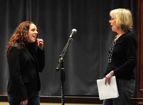 "Newburyport: Amy LeJeune, left, and Ann Ormond rehearse their songs for ""Variety Tonight."" Bryan Eaton/Staff Photo"