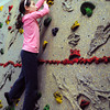 "Amesbury: Adelaide Saltsman, 9, climbs the rock wall in phys ed class at Amesbury Elementary School on Tuesday. Teacher Margaret Welch let the fourth-graders do some unstructured ""choice time"" letting them choose an activity of their choice to unwind after a day of MCAS tests. Bryan Eaton/Staff Photo"