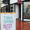 Amesbury: Carriagetown Chocolates has a sign reflecting hopes for spring business. Bryan Eaton/Staff Photo