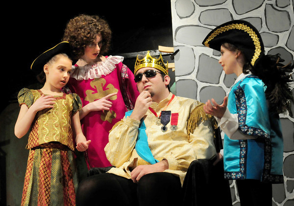 """Amesbury: In a scene from """"Cinderella"""" from left, Hannah Balaam as the Crier; Carolyn Sullivan as the Herald; Cody Care as the King and Gabby Bjornholm. Bryan Eaton/Staff Photo"""