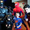 "Salisbury: Cole Moniz, 4, left, of Tewksbury and his brother Dante, 7, pose with Batman, Spiderman and Superman at a Super Heroes Brunch at the Pavilion at Salisbury Beach on Sunday. The three actors who portray the heroes host different charity events including appearances at Children's Hospital in Boston and presented Cole, who has leukemia, with a special goody bag and ""deputized"" him for the day. Bryan Eaton/Staff Photo"