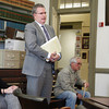 Newburyport: Allison Heartquist's attorney John Clifford addresses the board of registrars as she, left, and Michael Ferrick, far right, listen. Bryan Eaton/Staff Photo