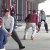 Newburyport: The Newburyport High baseball team practices under the stands of World War Memorial Stadium yesterday. Bryan Eaton/Staff Photo