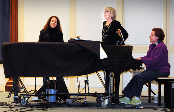 """Newburyport: Amy LeJeune, left, and Ann Ormond rehearse their songs for """"Variety Tonight"""" with Evelyn Mann on piano. Bryan Eaton/Staff Photo"""