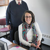 Salisbury: Salisbury DPW director Don Lavesque with his business manager Kathy Waelter who is retiring after 25 years. Bryan Eaton/Staff Photo