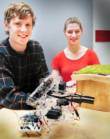 Newburyport: Newburyport High students Mark Landergan won a first place for his teachable robotic arm and Lauren Healey took third for her green roofs and storm water mitigation in as science and engineering fair. Both move on to the State Science and Engineering Fair at MIT in May. Bryan Eaton/Staff Photo