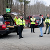Merrimac: State and local law enforcement and rescue personnel at a command post at Winter and Church Streets in Merrimac as they search for a man from Maine who is missing. His car was found nearby at the Sweetsir School. Bryan Eaton/Staff Photo
