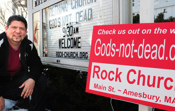"""Amesbury: Site pastor of Amesbury's United Methodist Church Jon Howard has arranged for the showing of the movie """"Gods-not-dead"""" to be shown at a Salisbury movie theater. Bryan Eaton/Staff Photo"""