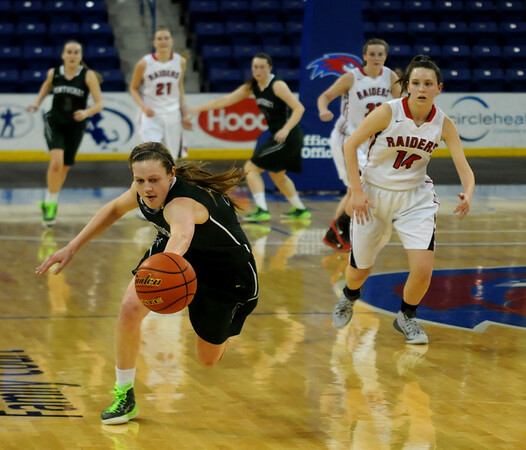 JIM VAIKNORAS/Staff photo Pentucket's McKenna Kilian chses down a loose ball during the Sachems 44-40 loss to Watertown in the Div 2 North Final Saturday at the Tsongas center in Lowell.