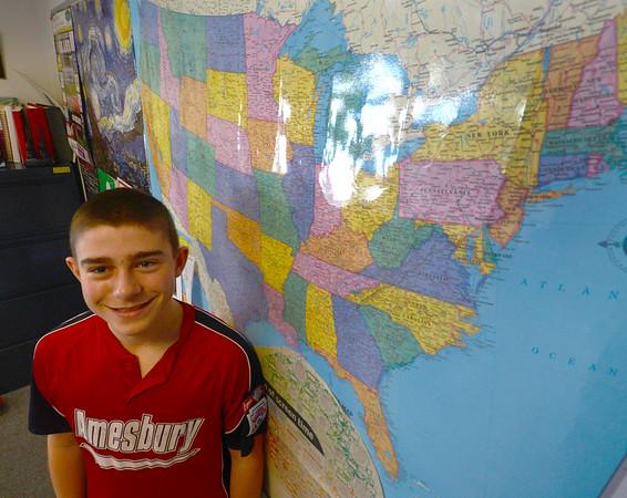 JIM VAIKNORAS/Staff photo <br /> Amesbury Middle School 7th grader John Nelson.
