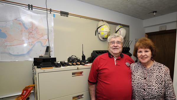JIM VAIKNORAS/Staff photo Paul and Debroah Bernier at the  the EOC in teh Ordway Building in Amesbury.