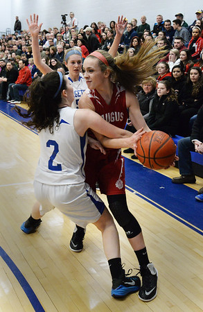 BRYAN EATON/Staff Photo. Georgetown's Rory Donaghue puts the pressure on Saugus' Kristina Italiano.