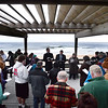 "BRYAN EATON/Staff Photo. The clouds may have gotten in the way of an Easter Sunrise Service at Salisbury Beach State Reservation but that didn't dampen the spirit of the congregations of the East Parish United Methodist Church in Salisbury and the Central Congregational Church from Newburyport here singing ""Morning Has Broken."" The service, with about 100 attendees, was held on the Sullivan Sun Shade Deck and was led by Pastor Vin Davis and The Rev. Charlotte Hendee of the East Parish UMC and The Rev. Christopher Ney of the Central Congregational Church."