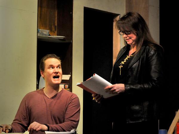 "BRYAN EATON/Staff Photo. Rob Carroll, left,  as ""Leo Jones"" with Madeline Sherwood as ""Carla Holmgren."""