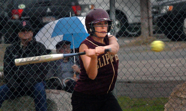 Newburyport: Lea Tomasz connects for a single against North Reading. Bryan Eaton/Staff Photo