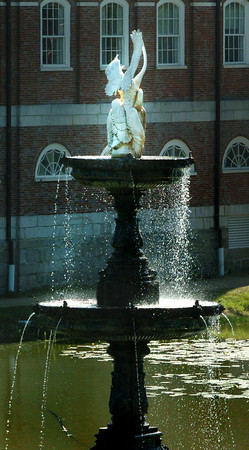 Newburyport: The water is flowing once again from the fountain of the Frog Pond at the Bartlet Mall in Newburyport. Bryan Eaton/Staff Photo