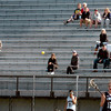 Newburyort: Several were at World War Memorial Stadium to watch Newburyport girls lacrosse host Triton yesterday afternoon in the sun, the stadium blocking some of the windy weather. Bryan Eaton/Staff Photo