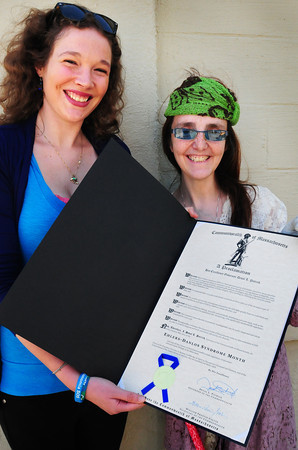 Newburyport: Kyleigh Dachos, left, and Diana Cleaveland hold a proclamation naming May as Ehlers-Danlos Syndrome Month in a proclamation from Governor Deval Patrick. Bryan Eaton/Staff Photo