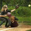 Newburyport: Newburyport's Lea Tomasz scores a run as Pentucket pitcher Jennie Nelson gets the throw late from catcher Sydney Snow. Bryan Eaton/Staff Photo